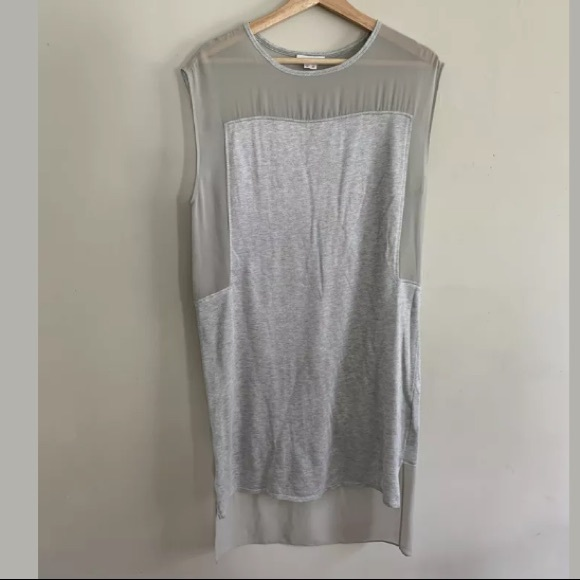 Helmut Lang Dresses & Skirts - Helmut Lang Shift Dress Mesh Gray High Low
